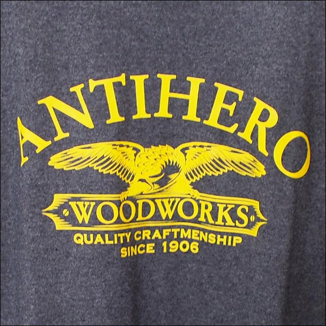 ANTIHERO【アンタイヒーロー】Tシャツ Woodworks TEE (Black Heather) サイズ:M
