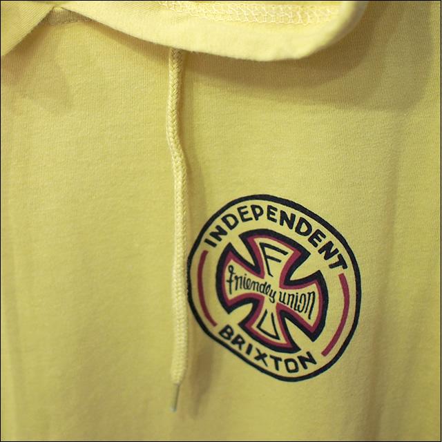 BRIXTON【ブリクストン】×INDEPENDENT【インデペンデント】コラボ Tシャツ RAYMOND S/S HOOD (Washed Yellow) サイズ:XS