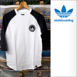 adidas skateboarding【アディダス スケートボーディング】ラグランTシャツ PITTED 3/4RAG (White/Black)