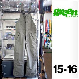 【15-16】GREEN CLOTHING【グリーンクロージング】スノーパンツ BIB PANTS(Olive)サイズ:M