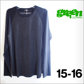 【15-16】GREEN CLOTHING【グリーンクロージング】ファーストレイヤー EZ WOOL SERIES / RAGLAN (Charcoal/Black)