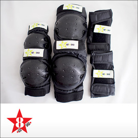 GoSkate【ゴースケート】子供用プロテクター3点セット (Black/Lime)