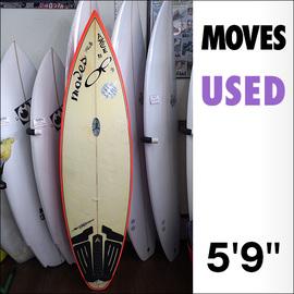 【中古】Moves【ムーブス】サーフボード 5'9×18×2 1/8 フィン無