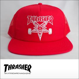 Thrasher【スラッシャー】メッシュキャップ Skategoat Mesh Cap (Red/White Embroidered)