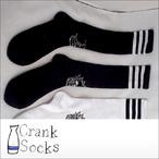 CRANK SOCKS【クランクソックス】SUKARU art SADAM Hi (ブラックベース/ホワイトライン)