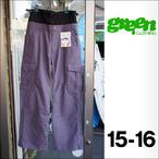 【15-16】GREEN CLOTHING【グリーンクロージング】スノーパンツ PEACE CARGO(Keshimurasaki)サイズ:M