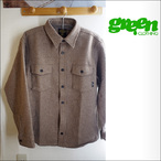 GREEN CLOTHING【グリーンクロージング】長袖シャツ WOOL FLANNEL SHIRTS (Camel)