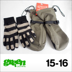 【15-16】GREEN CLOTHING【グリーンクロージング】スノーグローブ UNDER MITT Nylon+Cow Skin (Nibi+Navy/Gray)