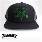 Thrasher【スラッシャー】メッシュキャップ Skategoat Mesh Cap (Black/Green Embroidered)