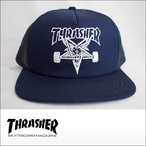 Thrasher【スラッシャー】メッシュキャップ Skategoat Mesh Cap (Navy/White Embroidered)