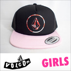 VOLCOM【ボルコム】レディース Girl Talk Trucker 5パネルメッシュキャップ フラットバイザー (BUP)